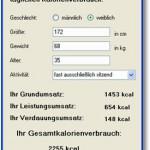 Kalorienverbrauch pro Tag ausrechnen – Software kostenlos