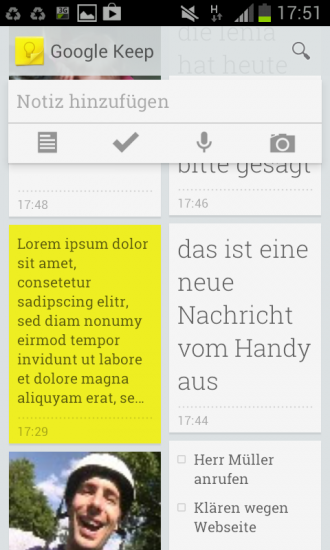 Google Notiz App für Android und iPhone
