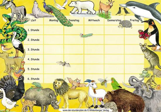 Sehr schöner Stundenplan zum runterladen mit Tieren